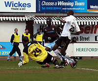 Photo: Mark Stephenson/Richard Lane Photography. <br /> Hereford United v Bury. Coca-Cola League Two. 21/03/2008. Bury's keeper Darren Randolph makes a good save from Hereford's Theo Robinson while Efe Sodje looks on