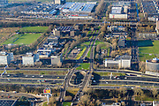 Nederland, Noord-Holland, Amsterdam, 11-12-2013; zicht op Overtoomse Veld en Slotervaart, Henk Sneevlietweg. A10 West (Einsteinweg) onder in beeld.<br /> 20th century town extensions, gardencities and ring road, Amsterdam West.<br /> luchtfoto (toeslag op standard tarieven);<br /> aerial photo (additional fee required);<br /> copyright foto/photo Siebe Swart