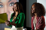 "(L to R) Dallas television personality Shon Gables and Mara Brock Akil, creator and executive producer of  BET's ""Being Mary Jane"", lead a Q&A after a screening at the W Hotel in Dallas, Texas on June 22, 2013."