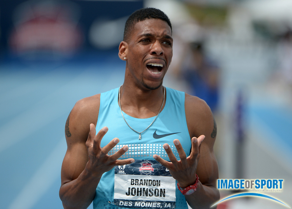 Jun 23, 2013; Des Moines, IA, USA; Brandon Johnson reacts after placing third in the 800m in the 2013 USA Championships at Drake Stadium.
