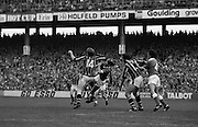 All Ireland Hurling Final - Cork vs Kilkenny.05.09.1982.09.05.1982.5th September 1982.Image of Kilkenny forward,Heffernan,fouling the Cork defender as they fight for the dropping ball.