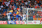 Mansfield Town defender Krystian Pearce (5) with a chance at the far post during the EFL Sky Bet League 2 match between Mansfield Town and Luton Town at the One Call Stadium, Mansfield, England on 26 August 2017. Photo by Nigel Cole.