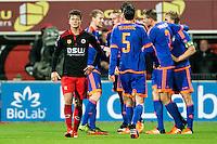 ROTTERDAM - SBV Excelsior - Feyenoord , Voetbal , Seizoen 2015/2016 , Eredivisie , Stadion Woudestein , 28-11-2015 , Feyenoord spelers vieren de 0-2 terwijl Excelsior speler Bas Kuipers (l) baalt