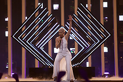 May 7, 2018 - Lisbon, Portugal - Singer SuRie of United Kingdom performs during the Dress Rehearsal of the first Semi-Final of the 2018 Eurovision Song Contest, at the Altice Arena in Lisbon, Portugal on May 7, 2018. (Credit Image: © Pedro Fiuza/NurPhoto via ZUMA Press)