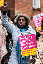 London, UK. 4th February, 2019. Joyce Reid, Chair of Croydon Central Labour Party joins other descendants of the Windrush generation and activists from Movement for Justice and other campaign groups opposed to the Government's hostile environment policy at a protest outside the Jamaican High Commission against plans by the Home Office and Jamaican government to recommence mass deportation charter flights on 6th February. The enforced removals are reported to include people who came to the UK as children and parents with British children and the deportation flight would be the first since March 2017 and the Windrush scandal.