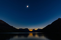 The solar eclipse occurs over the Green River Lakes in Wyoming on August 21, 2017