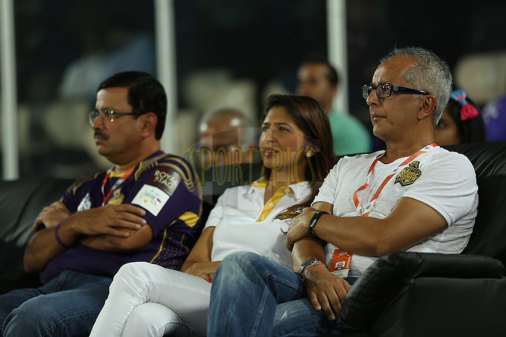 Venky Mysore and Jay mehta co -owner of Kolkatta Knight Riders during match 7 of the Oppo Champions League Twenty20 between the Kolkata Knight Riders and the Lahore Lions held at the Rajiv Gandhi Cricket Stadium, Hyderabad, India on the 21st September 2014<br /> <br /> Photo by:  Sandeep Shetty / Sportzpics/ CLT20<br /> <br /> <br /> Image use is subject to the terms and conditions as laid out by the BCCI/ CLT20.  The terms and conditions can be downloaded here:<br /> <br /> http://sportzpics.photoshelter.com/gallery/CLT20-Image-Terms-and-Conditions-2014/G0000IfNJn535VPU/C0000QhhKadWcjYs