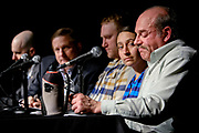 Veterans and their families discuss the pain and hardship of military service during a panel discussion following a reading of the Sophocles' Ajax during a Theater of War Performance at Williams College, March 6, 2017.