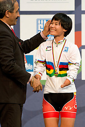 , CHN, 500m TT Podium, 2015 UCI Para-Cycling Track World Championships, Apeldoorn, Netherlands
