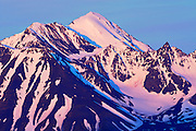 St. Elias Mountains looking at Kluane National Park at sunrise<br /> <br /> from Haines Junction<br /> Yukon<br /> Canada