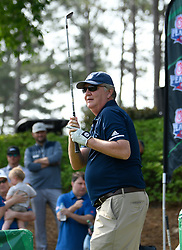Former Georgia Tech head football coach Paul Johnson during the Chick-fil-A Peach Bowl Challenge Closest to the Pin Skills Competition at the Ritz Carlton Reynolds, Lake Oconee, on Monday, April 29, 2019, in Greensboro, GA. (Dale Zanine via Abell Images for Chick-fil-A Peach Bowl Challenge)