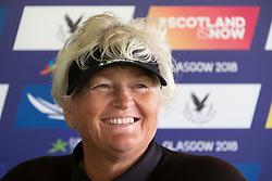 Gleneagles, Scotland, UK; 8 August, 2018.  Day one of golf competition at Gleneagles.. Men's and Women's Team Championships Round Robin Group Stage - 1st Round. Four Ball Match Play format. Gleneagles for the European Championships 2018. Laura Davies speaks to the press after her and teammate Georgia Hall of team GB beat Spain 5 and 4.