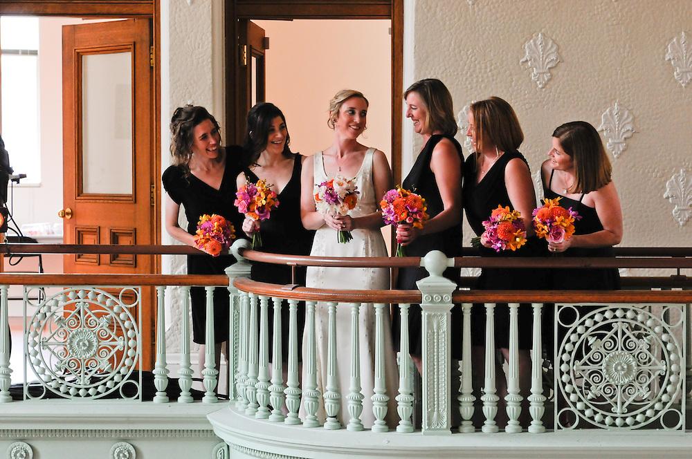 Bride and her bridesmaids at the Cambridge Multicultural Arts Center, Cambridge MA.