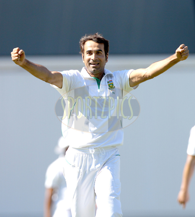 South Africa's Imran Tahir celebrates finishing the England 2nd innings by taking England's James Anderson wicket LBW for 4 and a SA victory in the first test  - England v South Africa - 1st Investec Test Match -  Day 5 - The Oval  - London - 23/07/2012..Andrew Fosker / Seconds Left Images