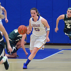 Staff photos by Tom Kelly IV<br /> East's Kaelyn Johns (25) dribbles down the court through a maze of Shanahan players including Kristen Habbel(15) Jamie Powers (13) and Rachel Parker(22) during the Bishop Shanahan at Downingtown East girls basketball game, Thursday night December 18, 2013.