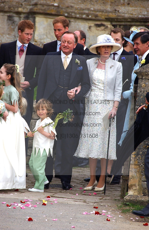 MR & MRS ANDREW PARKER BOWLES a at the wedding of Laura Parker Bowles to Harry Lopes held at Lacock, Wiltshire on 6th May 2006.<br /><br />NON EXCLUSIVE - WORLD RIGHTS