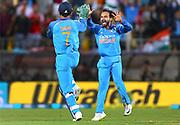 India's Mahendra Singh Dhoni celebrates with Kedar Jadhav during the Fifth ODI of the 2019 ANZ International ODI Series. Blackcaps v India at Westpac Stadium, Wellington, Sunday 3rd February 2019. © Copyright Photo: Grant Down / www.photosport.nz