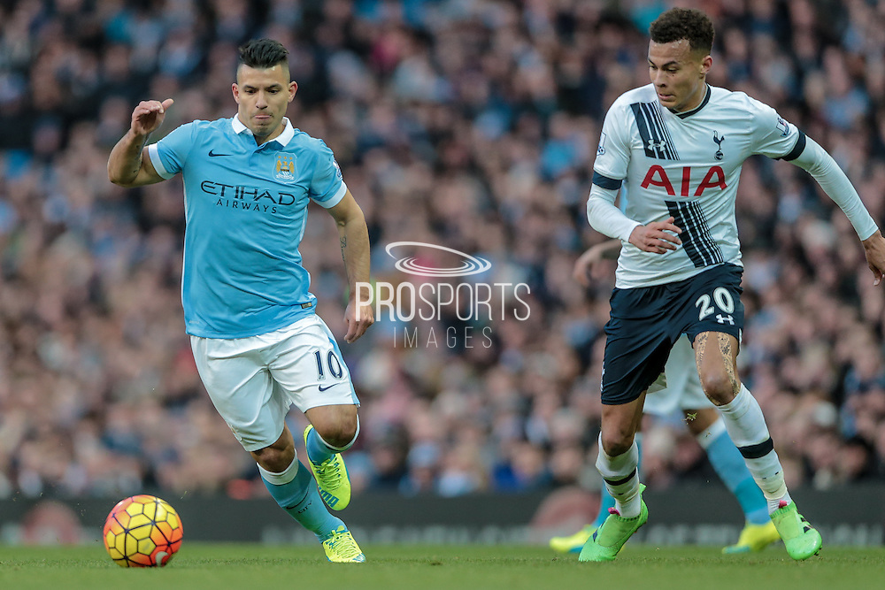 Sergio Agüero (Manchester City) and Dele Alli (Tottenham Hotspur) during the Barclays Premier League match between Manchester City and Tottenham Hotspur at the Etihad Stadium, Manchester, England on 14 February 2016. Photo by Mark P Doherty.