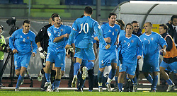 San Marino, San Marino - Wednesday, October 17, 2007: San Marino's captain Andy Selva celebrates his goal against Wales with his team-mates during the Group D UEFA Euro 2008 Qualifying match at the Serravalle Stadium. (Photo by David Rawcliffe/Propaganda)