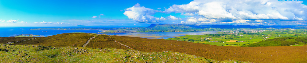 View of Sligo and Sligo bay viewed from Knocknarea Cairn shot at 50mm including, from left, the Donegal coastline in the background, Rosse's Point, Benbulben, Sligo Bay, Sligo and Lough Gill, consisting of 11 photos at 50mm