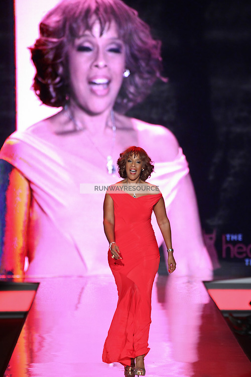 Gayle King walks the runway wearing Donna Karan New York during Heart Truth Red Dress Collection Fall 2011 during Mercedes-Benz Fashion Week in New York on February 9, 2011