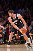 20 November 2012: Center (11) Brook Lopez of the Brooklyn Nets in game action against the Los Angeles Lakers during the second half of the Lakers 95-90 victory over the Nets at the STAPLES Center in Los Angeles, CA.