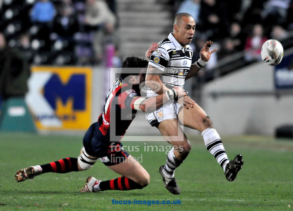 Hull - Friday, March 14th, 2008:  Hull Fc's Motu Tony fumbles the ball as he is tackled by a Wakefield Wildcat during Engage Super League match at the KC Stadium, Hull (Pic by Andrew Crozier/Focus Images)