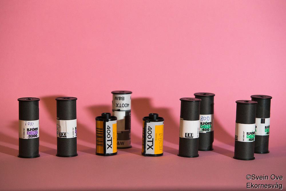 Filmruller eksponert på forskjellige ISO-verdier.<br /> Foto: Svein Ove Ekornesvåg