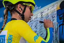 May 18, 2018 - South Lake Tahoe, California, U.S - Friday, May 18, 2018.Race leader, KENDALL RYAN of Team TIBCO - Silicon Valley Bank (USA), wearing the yellow jersey,  signs in prior to Stage 2 of the Amgen Tour of California Women's Race empowered with SRAM, which starts and finishes in South Lake Tahoe, California, near Heavenly Ski Resort. (Credit Image: © Tracy Barbutes via ZUMA Wire)