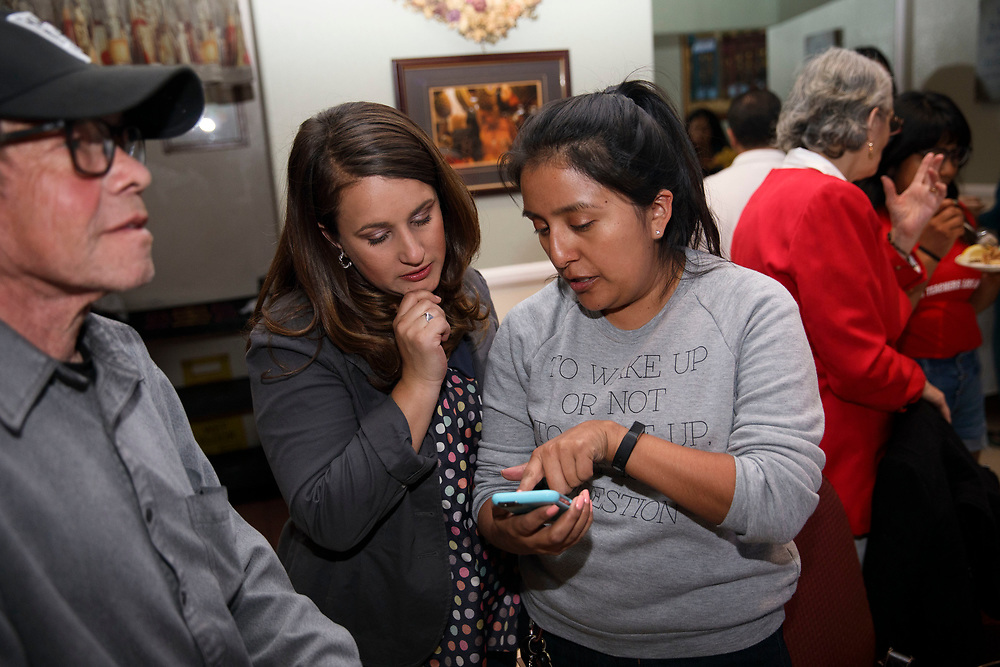 Candidate Imelda Padilla looks at voting results with Gemma Jimenez, right, during an LAUSD School Board District 6 election night event for candidate Imelda Padilla at Buon Gusto Ristorante on Tuesday, May 16, 2017 in Mission Hills, Calif. Candidates backed by charter school supporters won their first majority on the Los Angeles Board of Education as Kelly Gonez - a teacher at a charter school - collected more votes than Imelda Padilla to win District 6. © 2017 Patrick T. Fallon