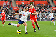 Francesca Kirby (10) of England crosses the ball during the FIFA Women's World Cup UEFA Qualifier match between England Ladies and Wales Women at the St Mary's Stadium, Southampton, England on 6 April 2018. Picture by Graham Hunt.