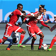 London Woodberry and Gershon Koffie, (left), New England Revolution, in action during the New York City FC Vs New England Revolution, MSL regular season football match at Yankee Stadium, The Bronx, New York,  USA. 26th March 2016. Photo Tim Clayton