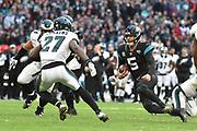 Jacksonville Jaguars Blake Bortles QB (5) runs at the Eagles defence during the International Series match between Jacksonville Jaguars and Philadelphia Eagles at Wembley Stadium, London, England on 28 October 2018.