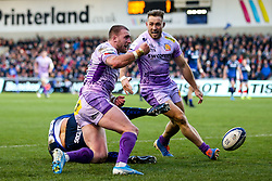 Stuart Hogg of Exeter Chiefs celebrates scoring a try - Mandatory by-line: Robbie Stephenson/JMP - 08/12/2019 - RUGBY - AJ Bell Stadium - Manchester, England - Sale Sharks v Exeter Chiefs - Heineken Champions Cup