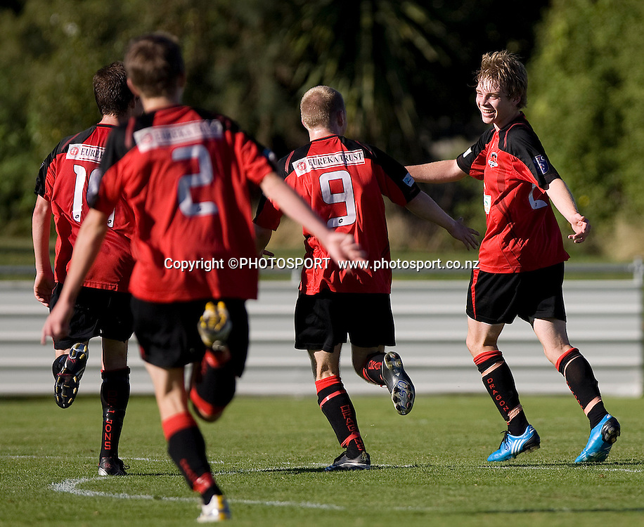 Canterbury United team celebrate the 6th Canterbury goal, scored by Sam Miles. Lion Foundation Youth League Final, Canterbury United v Waitakere United, English Park, Christchurch, Sunday 11 April 2010. Photo : Joseph Johnson/PHOTOSPORT