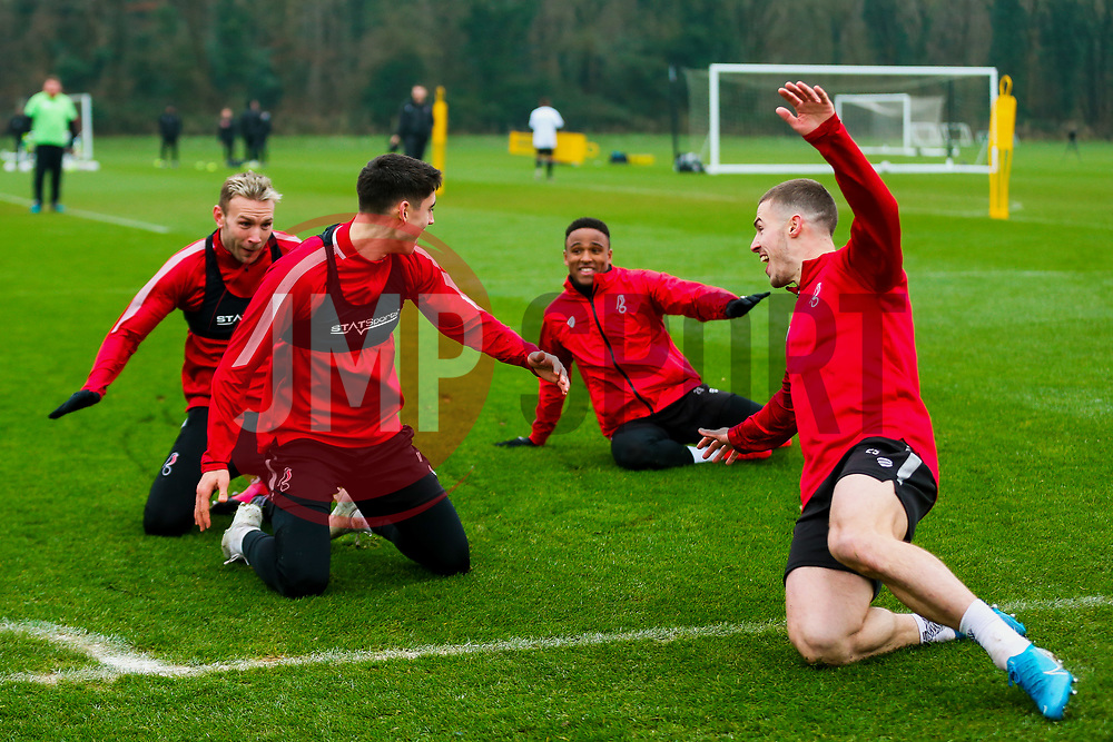 Callum O'Dowda celebrates with Tommy Rowe during filming for a charity quiz - Rogan/JMP - 23/01/2020 - Failand - Bristol, England - Sky Bet Championship.