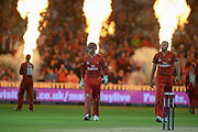 Jos Butler and George Edwards during the NatWest T20 Blast final match between Northants Steelbacks and Lancashire Lightning at Edgbaston, Birmingham, United Kingdom on 29 August 2015. Photo by David Vokes.