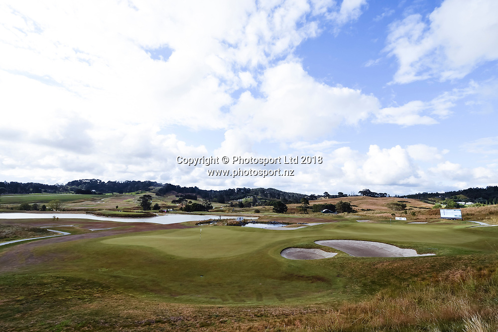Wainui Golf Course general view, 9th and 18th hole greens.<br /> NZ Rebel Sports Masters, Wainui Golf Club, Wainui, Auckland, New Zealand. 14 January 2018. &copy; Copyright Image: Marc Shannon / www.photosport.nz.