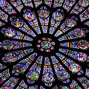A spectacular example of stained glass - from inside Notre Dame de Paris, looking up at one of the Cathedrals 3 massive Rose windows.