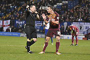 Bradford City Defender, Anthony McMahon disagrees with ref Mr Rob Lewis decision during the The FA Cup third round match between Bury and Bradford City at Gigg Lane, Bury, England on 9 January 2016. Photo by Mark Pollitt.