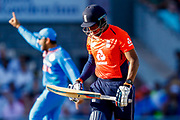 England T20 bowler Chris Jordan is out during the International T20 match between England and India at Old Trafford, Manchester, England on 3 July 2018. Picture by Simon Davies.