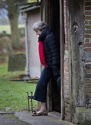 © Licensed to London News Pictures. 17/12/2017. Maidenhed, UK. Prime Minister Theresa May attends church. Photo credit: Peter Macdiarmid/LNP