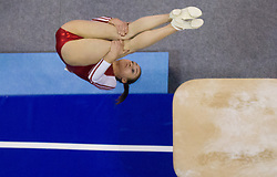 Elisa Haemmerle of Austria competes in the Vault during Final day 1 of Artistic Gymnastics World Cup Ljubljana, on April 27, 2013, in Hala Tivoli, Ljubljana, Slovenia. (Photo By Vid Ponikvar / Sportida.com)
