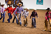 "01 SEPTEMBER 2011 - ST. PAUL, MN:  High school rodeo participants wait to compete at the Minnesota State Fair. The Minnesota State Fair is one of the largest state fairs in the United States. It's called ""the Great Minnesota Get Together"" and includes numerous agricultural exhibits, a vast midway with rides and games, horse shows and rodeos. Nearly two million people a year visit the fair, which is located in St. Paul.   PHOTO BY JACK KURTZ"
