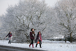 © Licensed to London News Pictures.30/1/2015. Baddersley, Warwickshire. Snow fell in Warwickshire overnight.Pictured, a snowy walk to school in Baddersley.<br /> Photo credit : Dave Warren/LNP