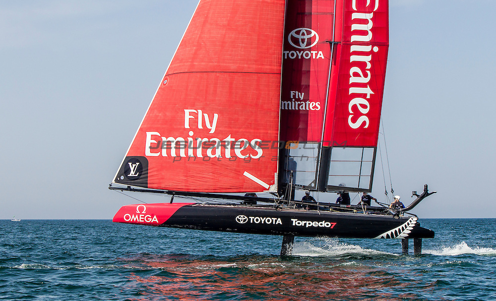 Louis Vuitton America's Cup World Series Oman 2016.Second day of racing, 28th of February 2016.Emirates Team New Zealand<br /> Skipper - Glenn Ashby. ,Pete Burling,Ray Davies,Blair Tuke,Guy Endean<br /> .Muscat ,The Sultanate of Oman.Image licensed to Jesus Renedo/Lloyd images/Oman Sail