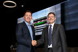 Bristol Sport CEO Andrew Billingham poses with Hargreaves Lansdown CEO and new Bristol Jets Badminton Chairman Ian Gorham in the Bristol Sports Bar and Grill - Mandatory byline: Rogan Thomson/JMP - 27/01/2016 - BADMINTON - Ashton Gate Stadium - Bristol, England.