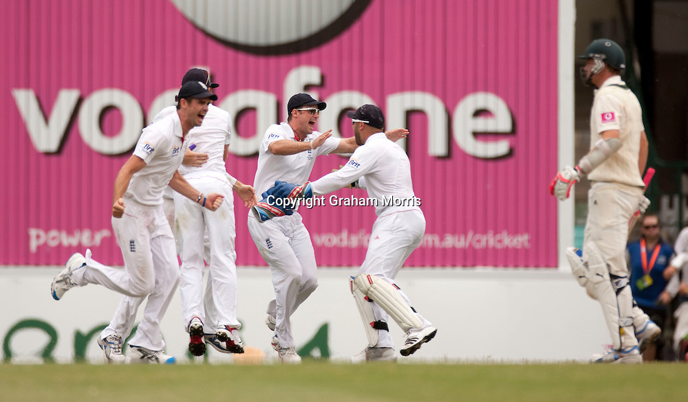 Celebrations as last man Michael Beer (right) is bowled by Chris Tremlett and England beat Australia in the fifth and final Ashes Test match at the SCG in Sydney to win the series 3-1. Photo: Graham Morris (Tel: +44(0)20 8969 4192 Email: sales@cricketpix.com) 07/01/11