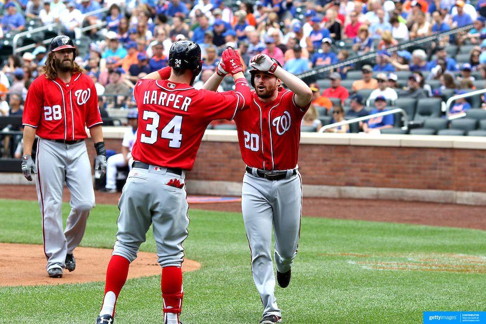 NEW YORK, NEW YORK - July 10: Daniel Murphy #20 of the Washington Nationals is congratulated by Bryce Harper #34 of the Washington Nationals after hitting a two run home run in the first inning during the Washington Nationals Vs New York Mets regular season MLB game at Citi Field on July 10, 2016 in New York City. (Photo by Tim Clayton/Corbis via Getty Images)