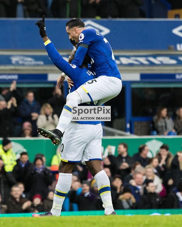 Goalscorer Romelu Lukaku of Everton is congratulated by Ramiro Funes Mori of Everton .Everton v Manchester City, Barclays English Premier League, 15th January 2017. (c) Paul Cram | SportPix